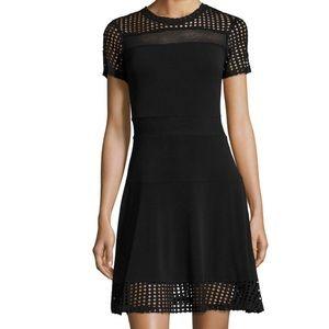 Michael Kors knit dress features mixed mesh XS